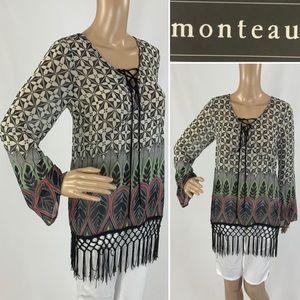 BNWT MONTEAU bohemian fringed tunic